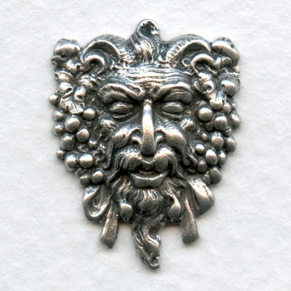 Dionysus Greek God of Wine Oxidized Silver 21mm (2 ...