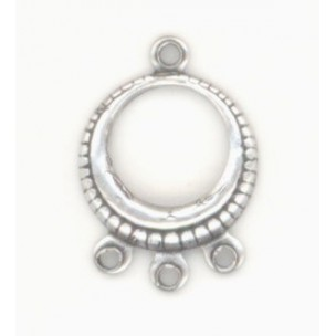 Three Strand Connector Hoop Oxidized Silver ^ (12)