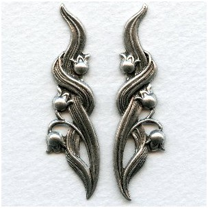 Lily of the Valley Flourishes Oxidized Silver (1 set)