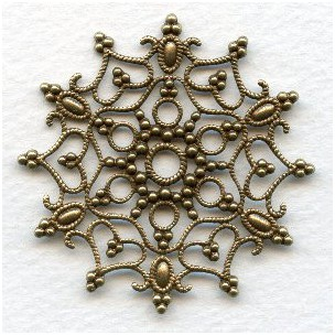 Snowflake Shaped Stamping Oxidized Brass 48mm (1)