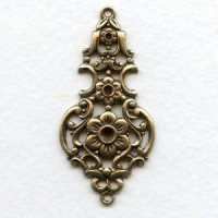Grand Elegant Floral Pendant Connector Oxidized Brass