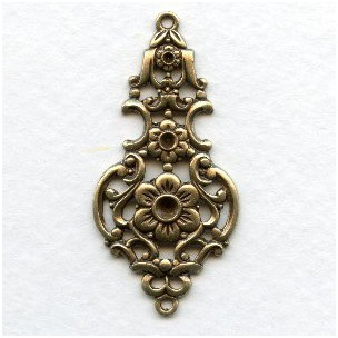 Grand Elegant Floral Pendant Connector Oxidized Brass (1)