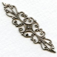 Splendid Bar Style Filigree in Oxidized Silver Plated
