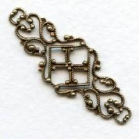 Feminine Filigree Ornate Connector 45mm Brass (6)