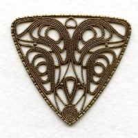 ^Flat Filigree 38mm Triangle Oxidized Brass (1)