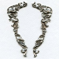Corner Details Grand Victorian Style Oxidized Silver (1 pair)