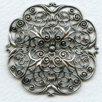 Ornate Filigree Oxidized Silver Elegant! 47mm