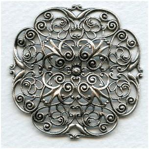 Ornate Filigree Oxidized Silver 47mm (1)