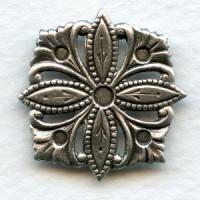 Decorative Square Floral Embellishment Oxidized Silver (4)