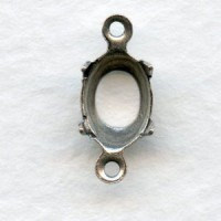 Open Back 8x6mm Setting Connectors Oxidized Silver