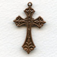Ornate Small Cross Pendants Oxidized Copper