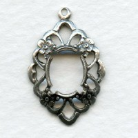 Openwork Floral 10x8mm Settings Oxidized Silver
