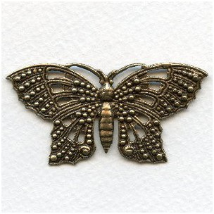 Ornate 57mm Butterfly Stamping Oxidized Brass