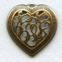 Detailed Heart Pendant Openwork Oxidized Brass 28mm