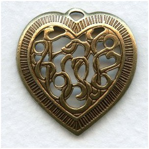 Detailed Heart Pendants Openwork Oxidized Brass 28mm (3)