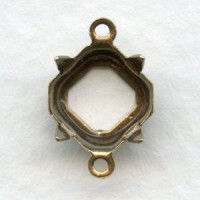 Square Octagon 8mm Setting Connectors Oxidized Brass