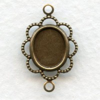 Filigree Setting Connector 10x8mm Oxidized Brass