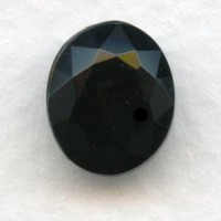 Jet Glass Oval Unfoiled Jewelry Stones 12x10mm