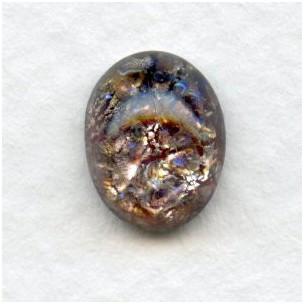Amethyst Glass Opal Cabochons 10x8mm Handmade (2)