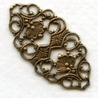 Ornate Flat Filigree Connector 32mm Oxidized Brass (6)