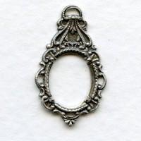 Ornate Drop Pendant 12x10mm Setting Oxidized Silver