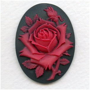 ^Red Rose on Black Background Cameo 40x30mm