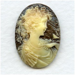Girl with Nightingale Cameos Ivory on Brown 25x18mm