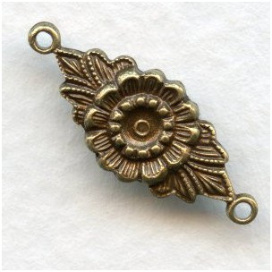 Floral Connector 3mm Setting Well Oxidized Brass (12)