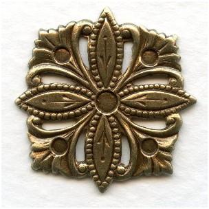 Decorative Square Floral Embellishment Oxidized Brass