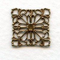 Square Flat Filigree Connector Oxidized Brass (12)