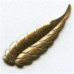 Long Slender Leaf Stamping Oxidized Brass 77mm (6)