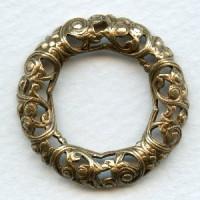 Round Ornate Framework Oxidized Brass 32mm (1)
