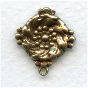 Ornate Pendants for Earring Tops Oxidized Brass 18mm (6)