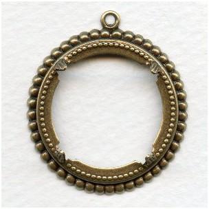 Beaded Detail Open 25mm Settings Oxidized Brass (6)