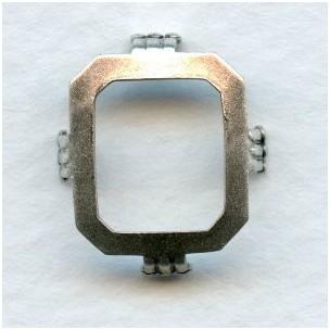 Cushion Octagon Turtle Setting 14x12mm Oxidized Silver (6)