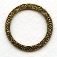 Elegant Embossed Connector Rings Oxidized Brass 25mm (6)