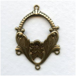 Ornate Floral 3 Strand Connectors Oxidized Brass (6)