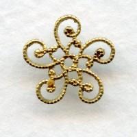 Victorian Flat Filigree Bead Caps Raw Brass