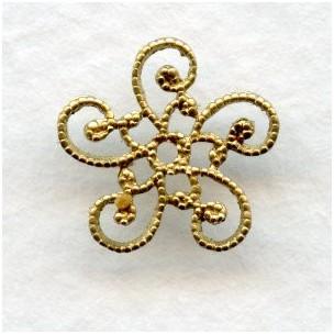 Victorian Flat Filigree Bead Caps Raw Brass (12)