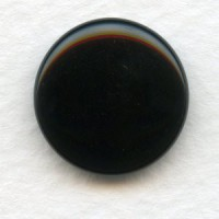 Jet Glass Cabochon Round Buff-Top 18mm