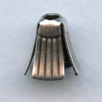 Pleated Skirt Bead Caps Oxidized Silver 12mm