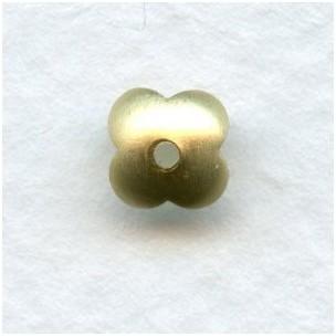 Four Petal Smooth Bead Caps Raw Brass 7mm