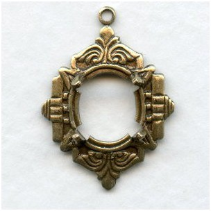 Art Deco Inspired 10x8mm Settings Oxidized Brass (2)