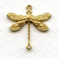 Victorian Style Dragonfly Connectors Raw Brass (12)