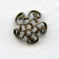 Victorian Style Filigree Bead Caps 10mm Oxidized Brass (12)