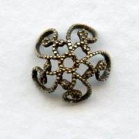 Victorian Style, Filigree Bead Caps 8mm Oxidized Brass
