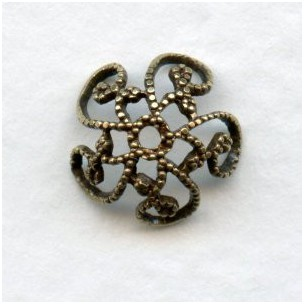 Victorian Style Filigree Bead Caps 10mm Oxidized Brass (12)
