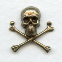 Skull and Crossbones 21mm Oxidized Brass (6)