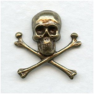 Skull and Crossbones 21mm Oxidized Brass (6)