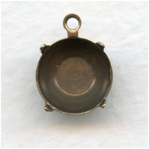 Round 10mm Setting Pendant Oxidized Brass